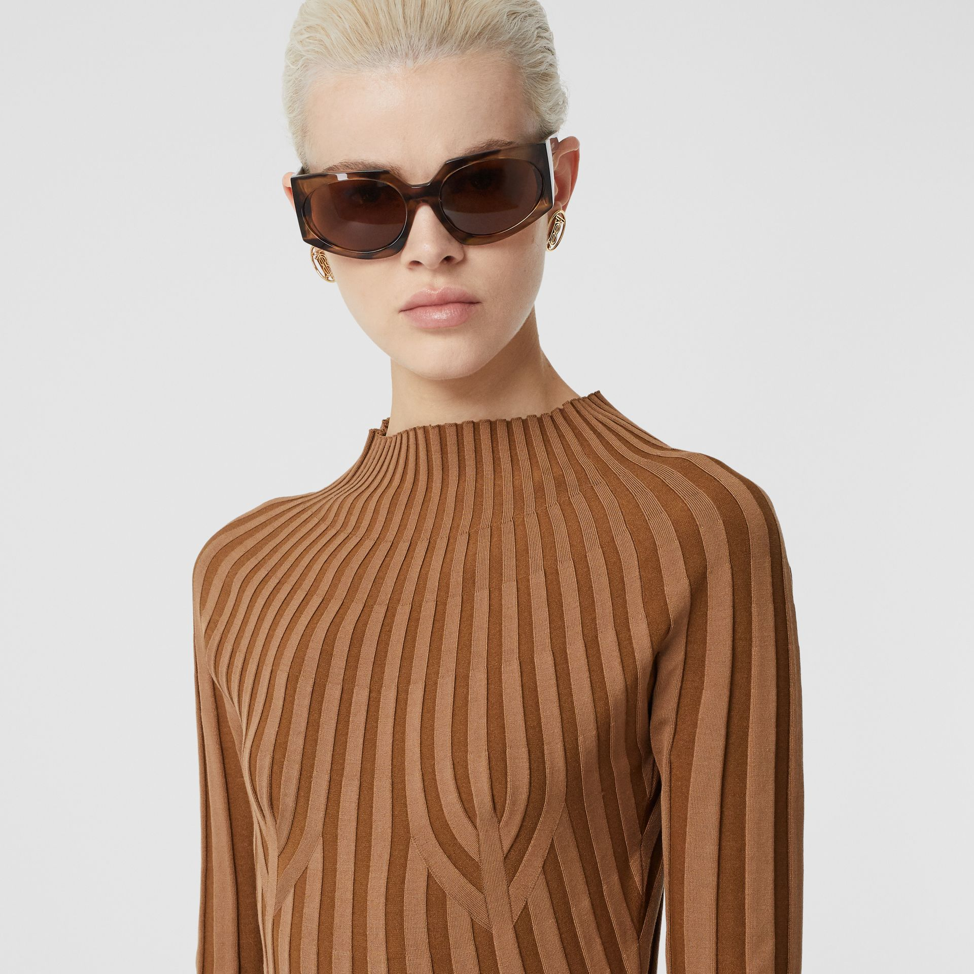 Long-sleeve Rib Knit Stretch Silk Blend Dress in Truffle - Women | Burberry - gallery image 5