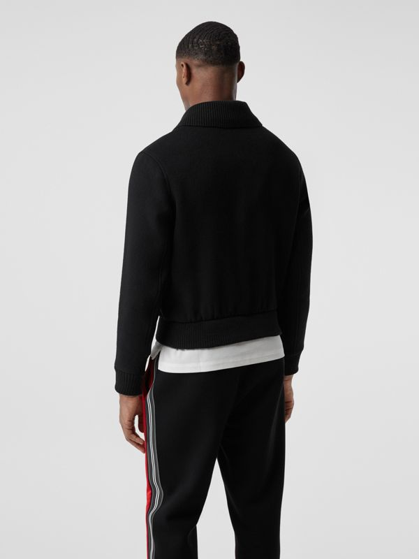 Detachable Knit Collar Wool Cashmere Bomber Jacket in Black - Men | Burberry - cell image 2