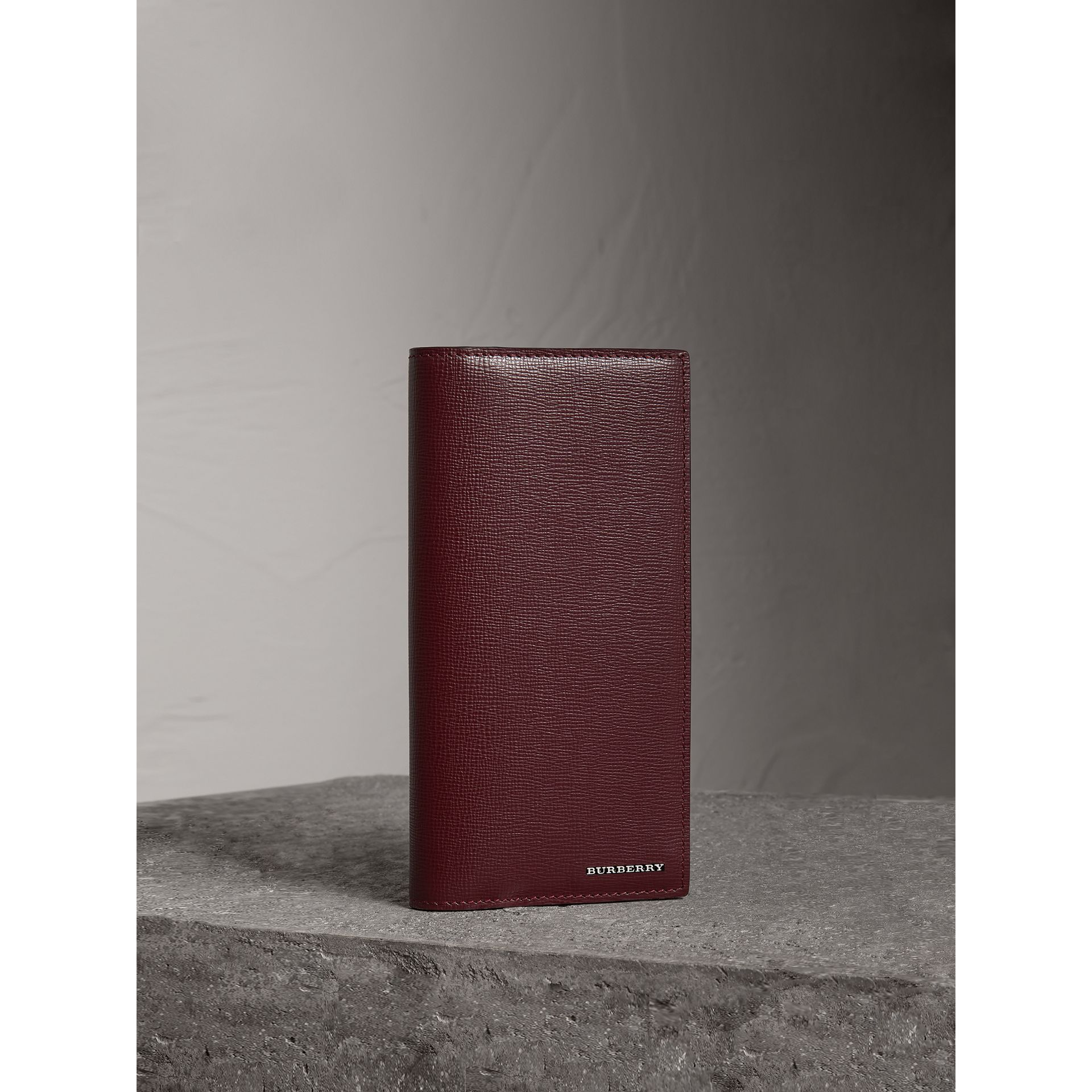 London Leather Continental Wallet in Burgundy Red - Men | Burberry - gallery image 1