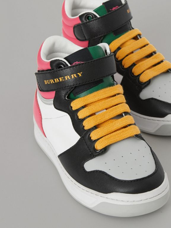 Colour Block Leather High-top Sneakers in Bright Rose - Children | Burberry - cell image 1