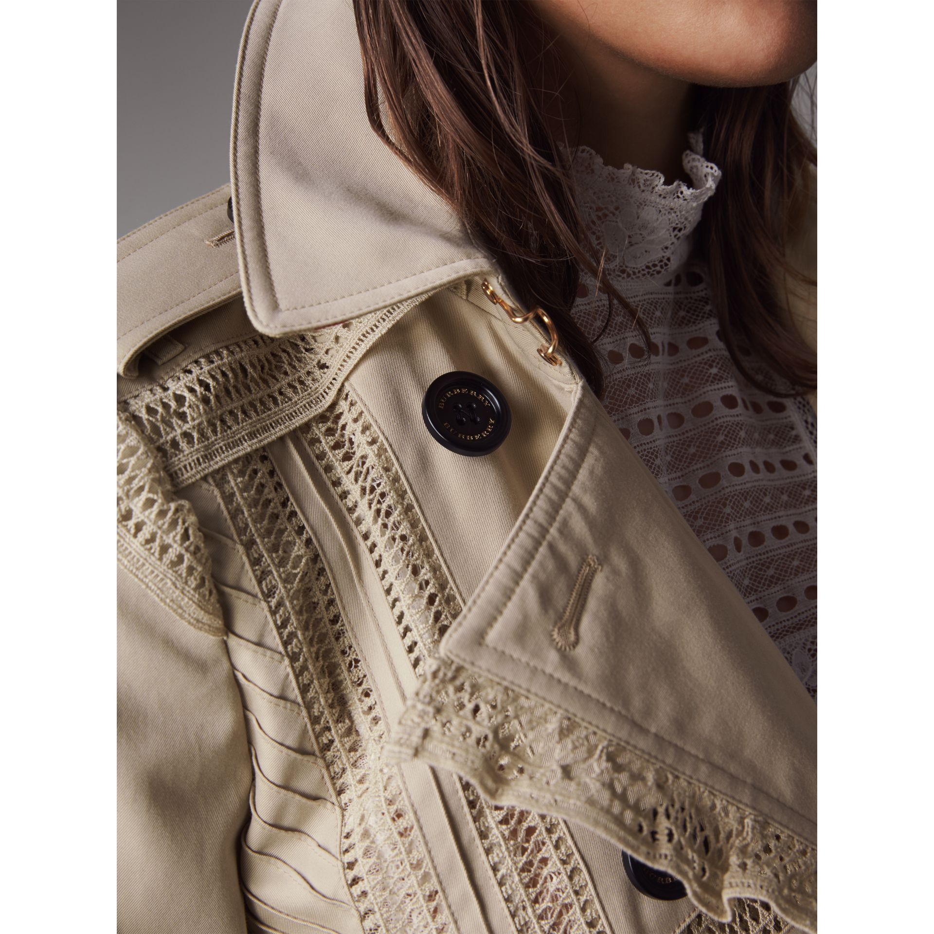 Lace Detail Cotton Gabardine Trench Coat - Women | Burberry - gallery image 4