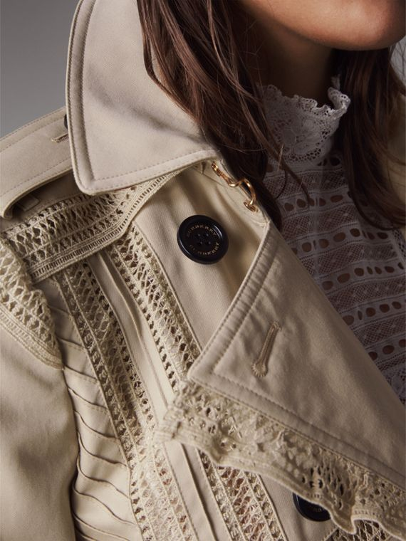 Lace Detail Cotton Gabardine Trench Coat - Women | Burberry - cell image 3