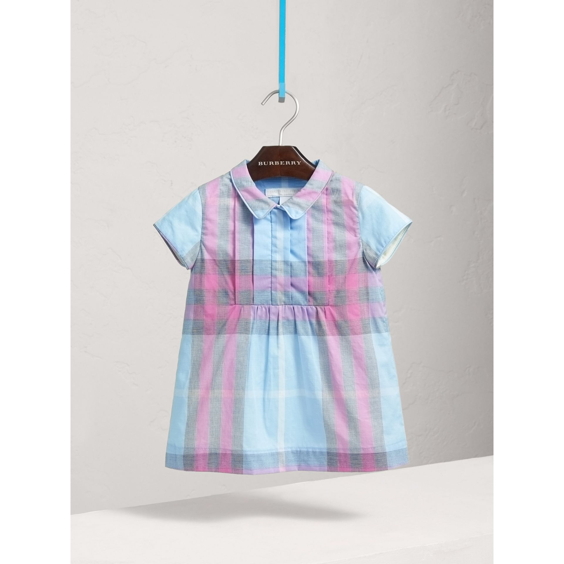 Pleated Bib Check Cotton Dress in Chalk Blue | Burberry United Kingdom - gallery image 0