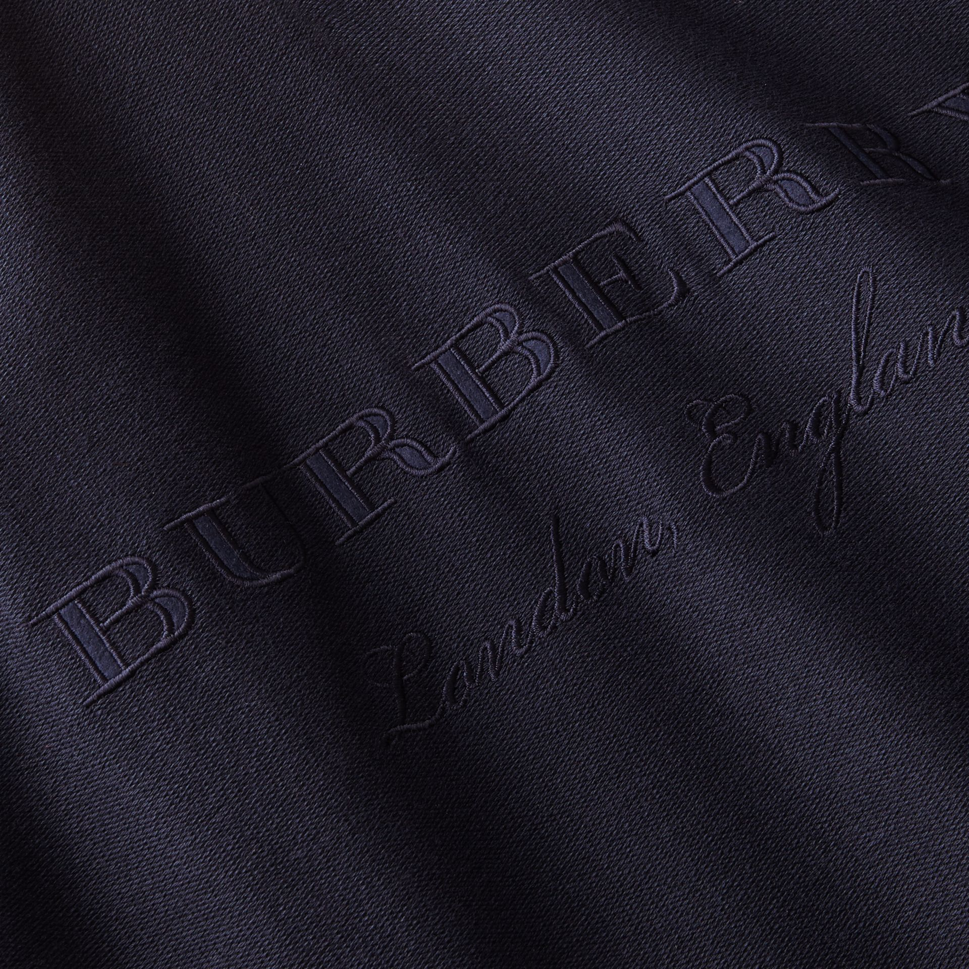 Embroidered Motif Cotton-blend Jersey Sweatshirt in Navy - Men | Burberry Australia - gallery image 2