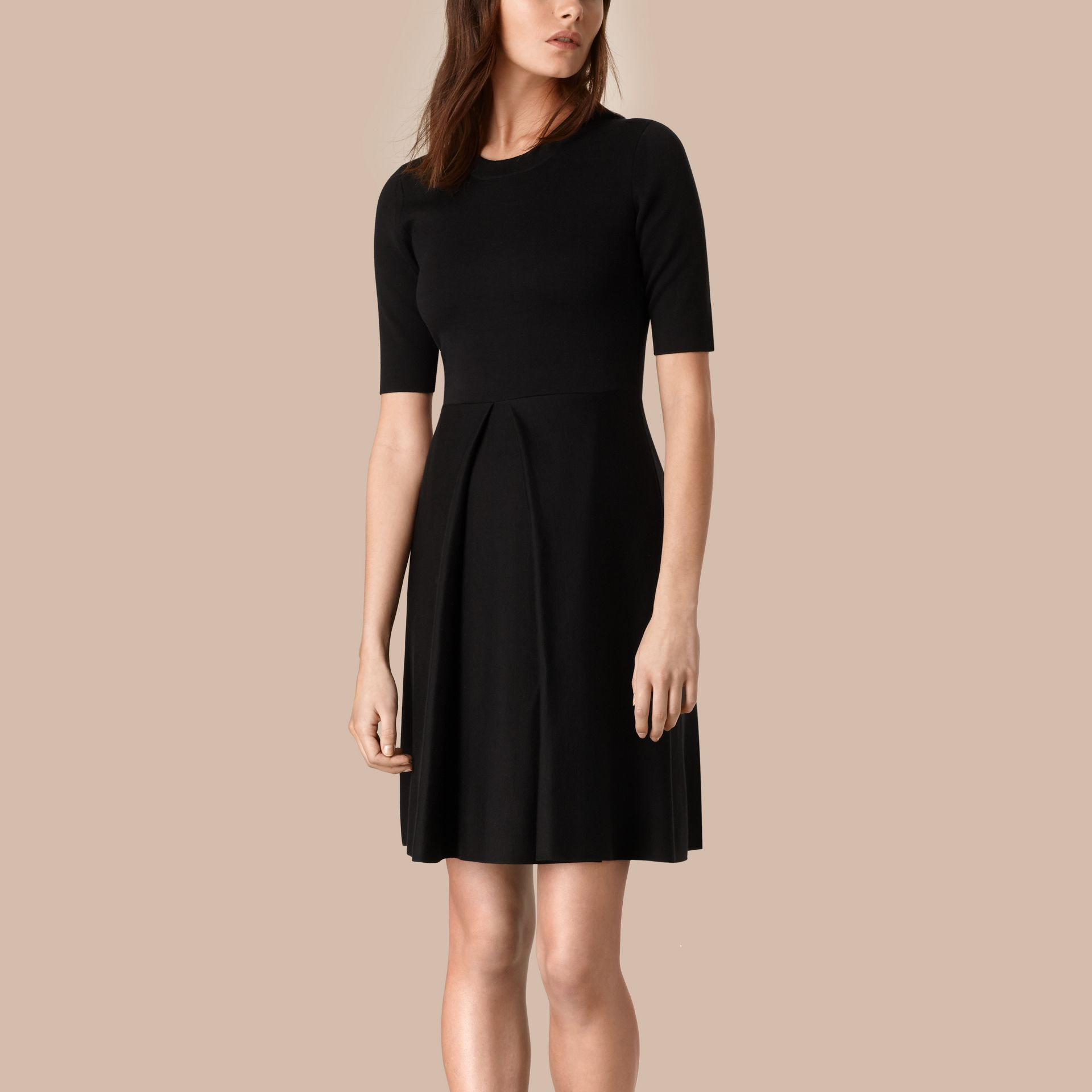 Black Knitted Silk Wool Dress Black - gallery image 1