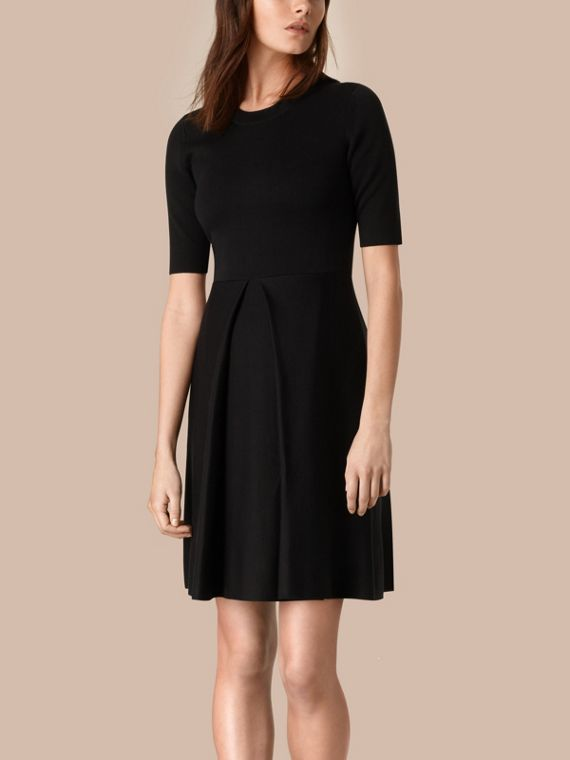 Knitted Silk Wool Dress Black
