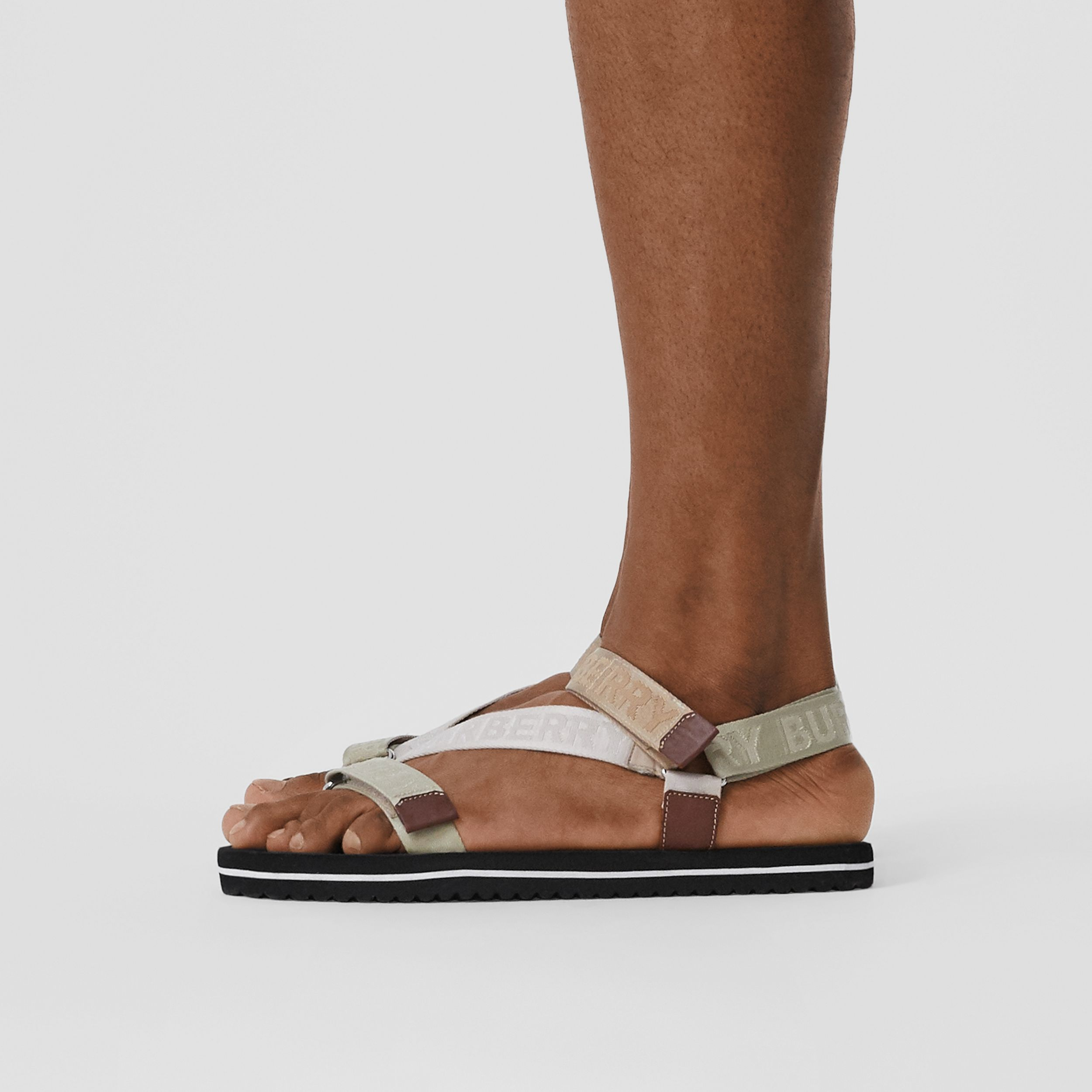 Logo Jacquard Sandals in Archive Beige - Men | Burberry - 3