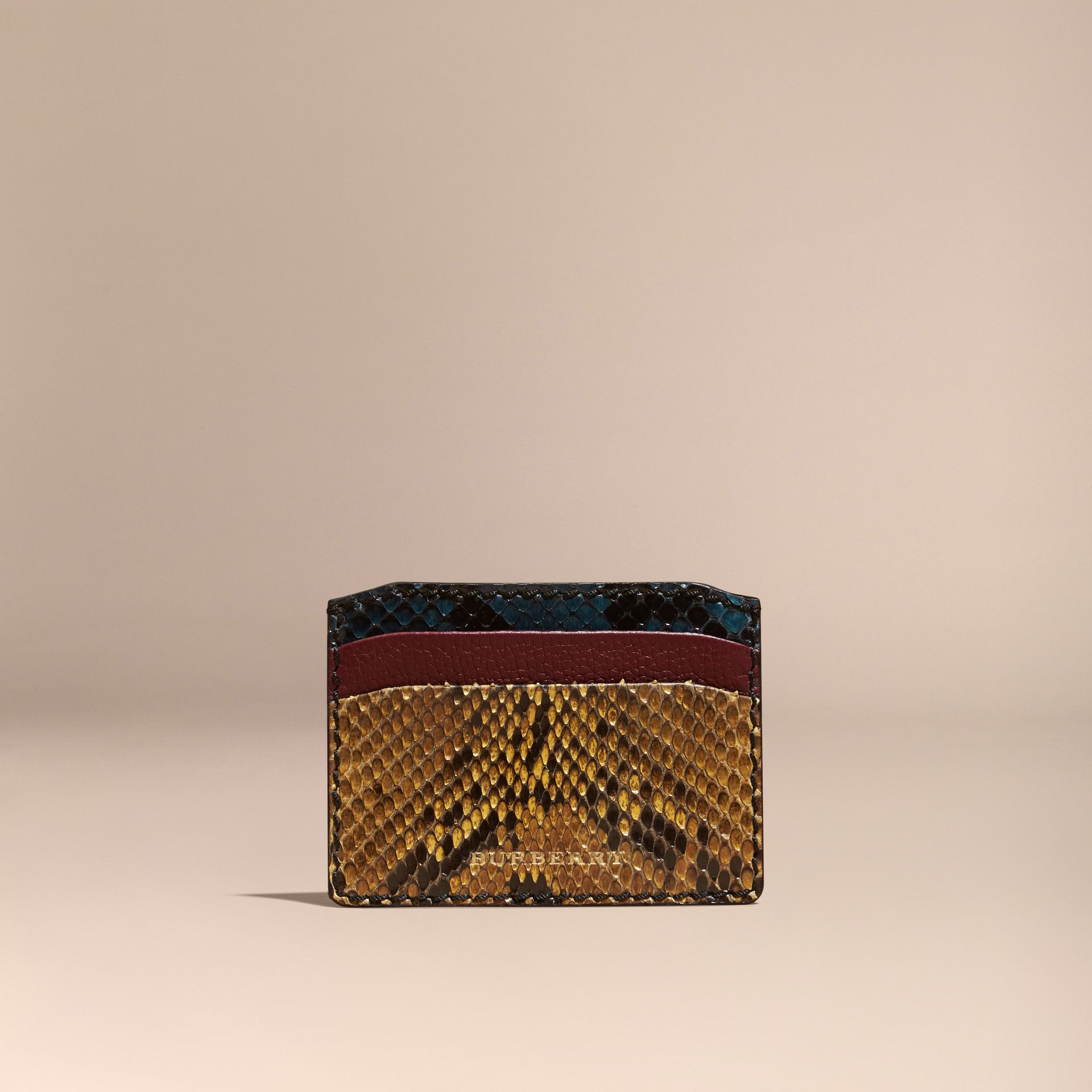 Elderberry Colour Block Snakeskin and Leather Card Case Elderberry - gallery image 6