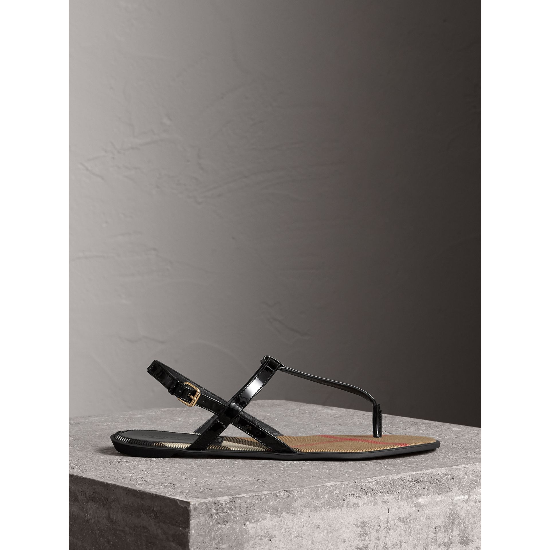 House Check-lined Leather Sandals in Black - Women | Burberry Australia - gallery image 4