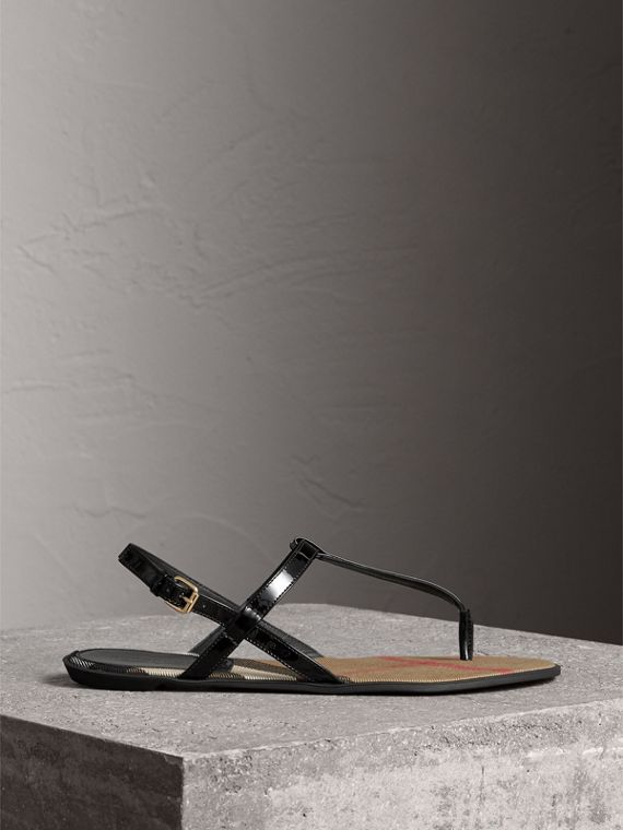 House Check-lined Leather Sandals in Black - Women | Burberry - cell image 3