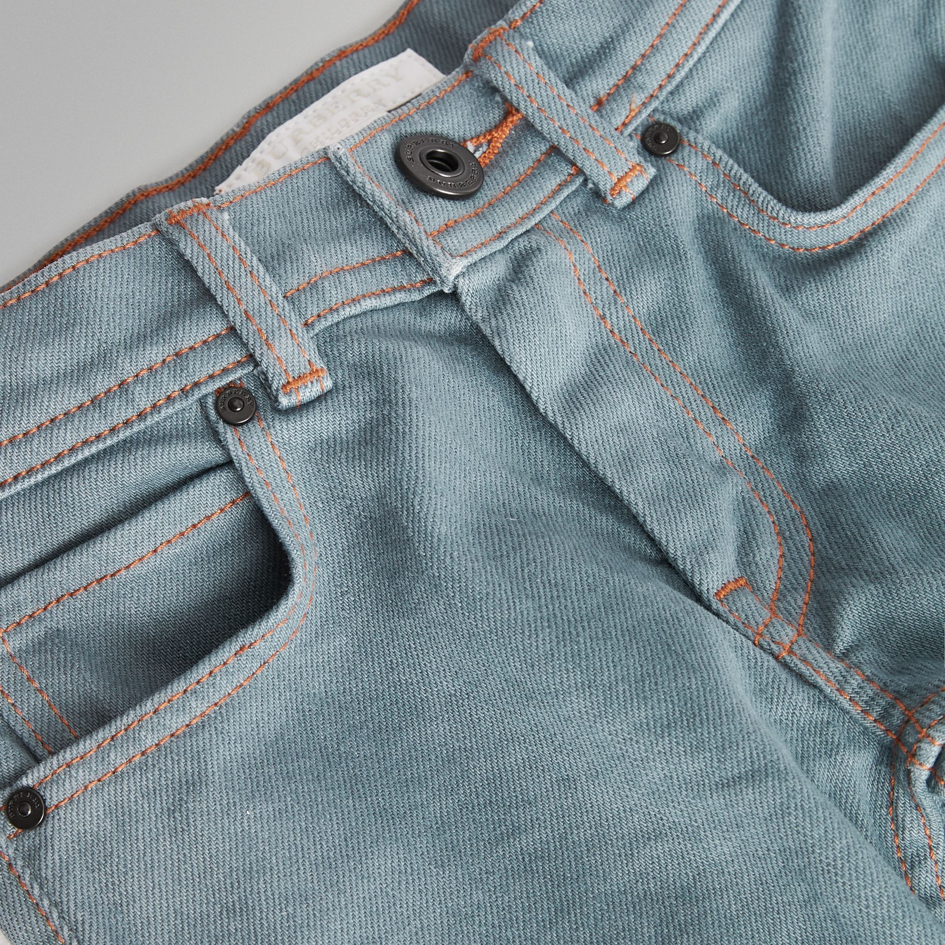 Skinny Fit Stretch Jeans in Dusty Blue | Burberry - gallery image 1