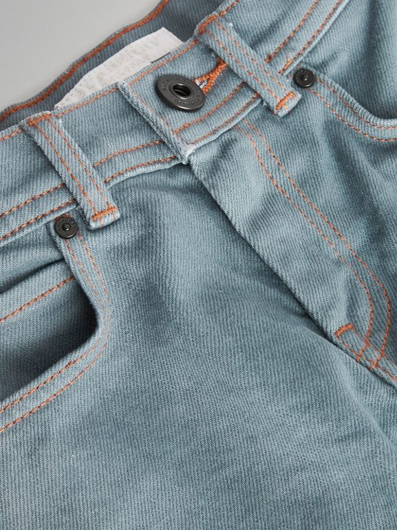 Skinny Fit Stretch Jeans in Dusty Blue | Burberry - cell image 1