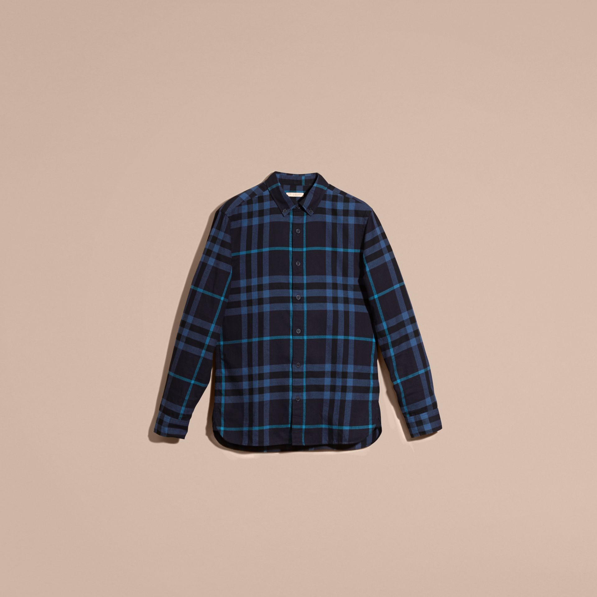 Bright navy Check Cotton Flannel Shirt Bright Navy - gallery image 4