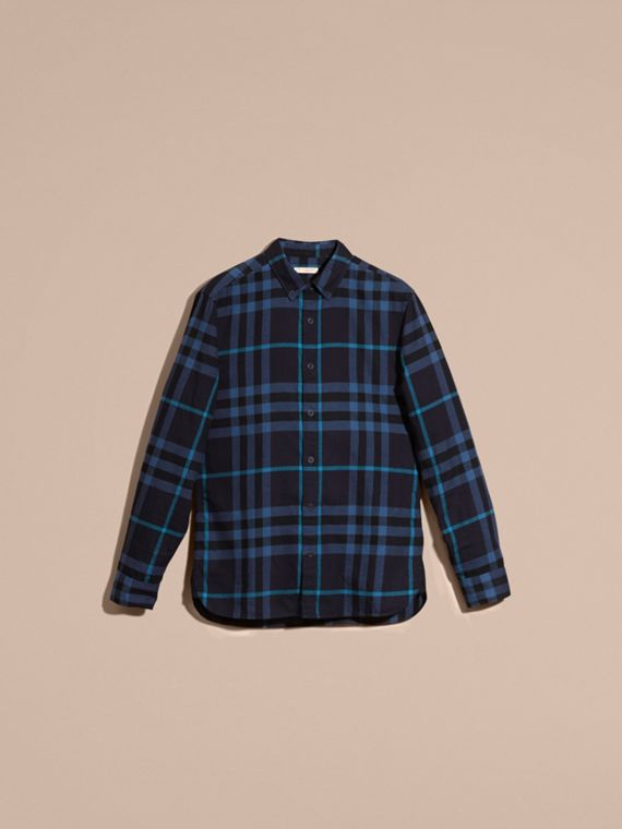 Bright navy Check Cotton Flannel Shirt Bright Navy - cell image 3