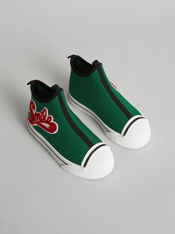 Embroidered Neoprene High-top Sneakers in Bright Pigment Green