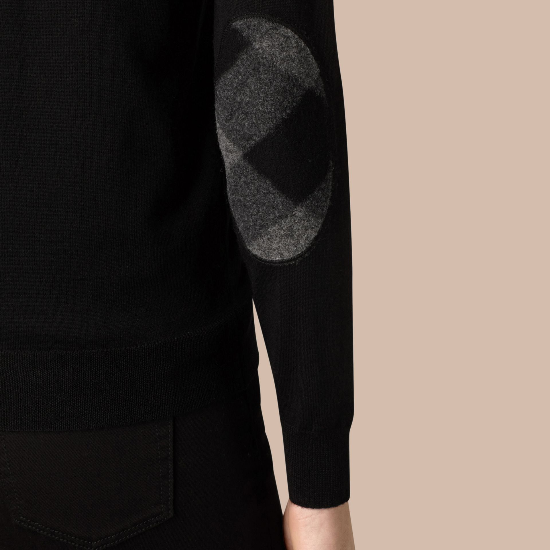 Check Detail Merino Wool Cardigan in Black - gallery image 2