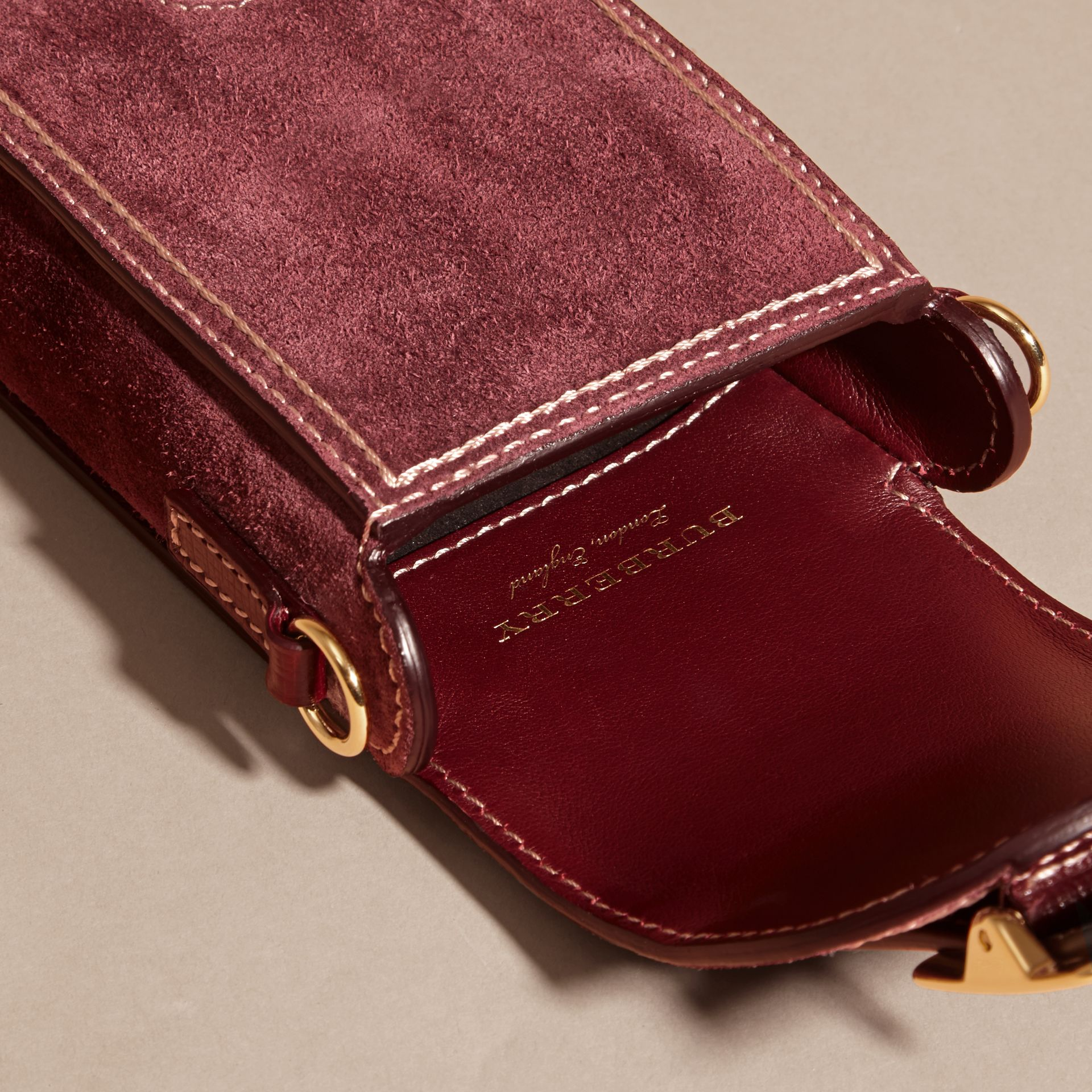 Mahogany red The Buckle Bag – Oblong in Suede - gallery image 5