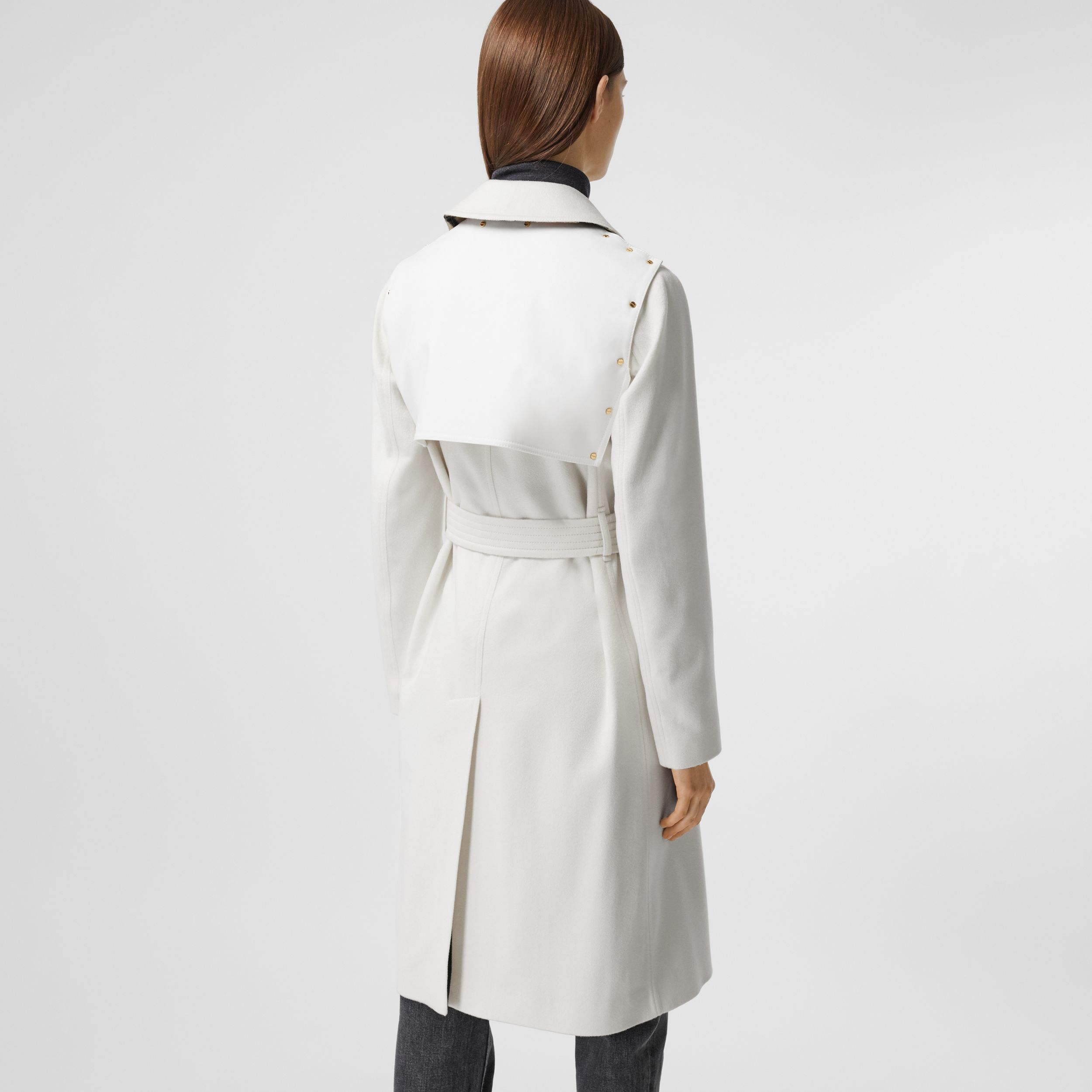 Cotton Gabardine Panel Cashmere Trench Coat in Natural White - Women | Burberry Australia - 3