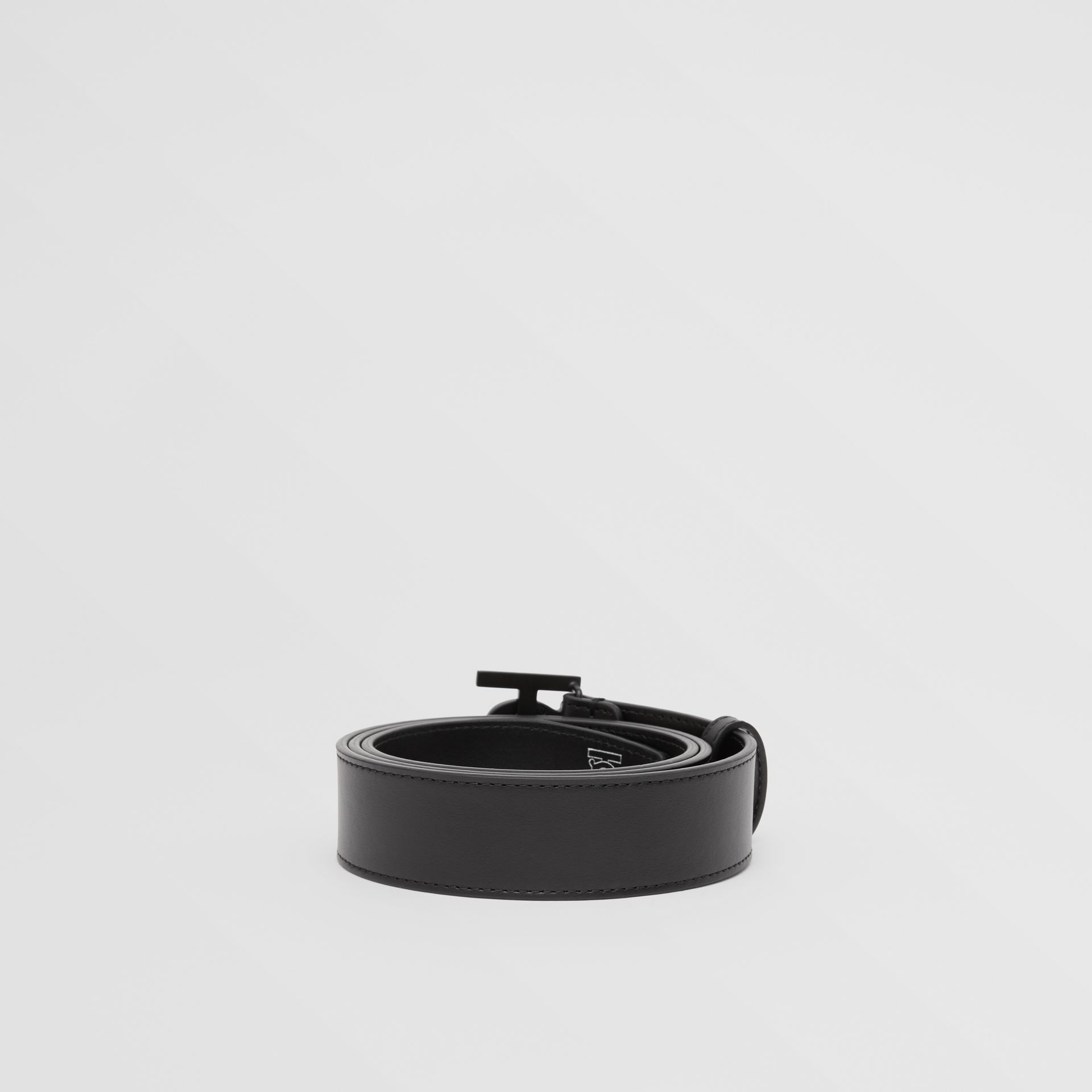 Matte Monogram Motif Leather Belt in Black - Men | Burberry - gallery image 4