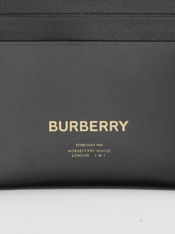 Horseferry Print Leather Card Case in Black | Burberry Canada - cell image 1