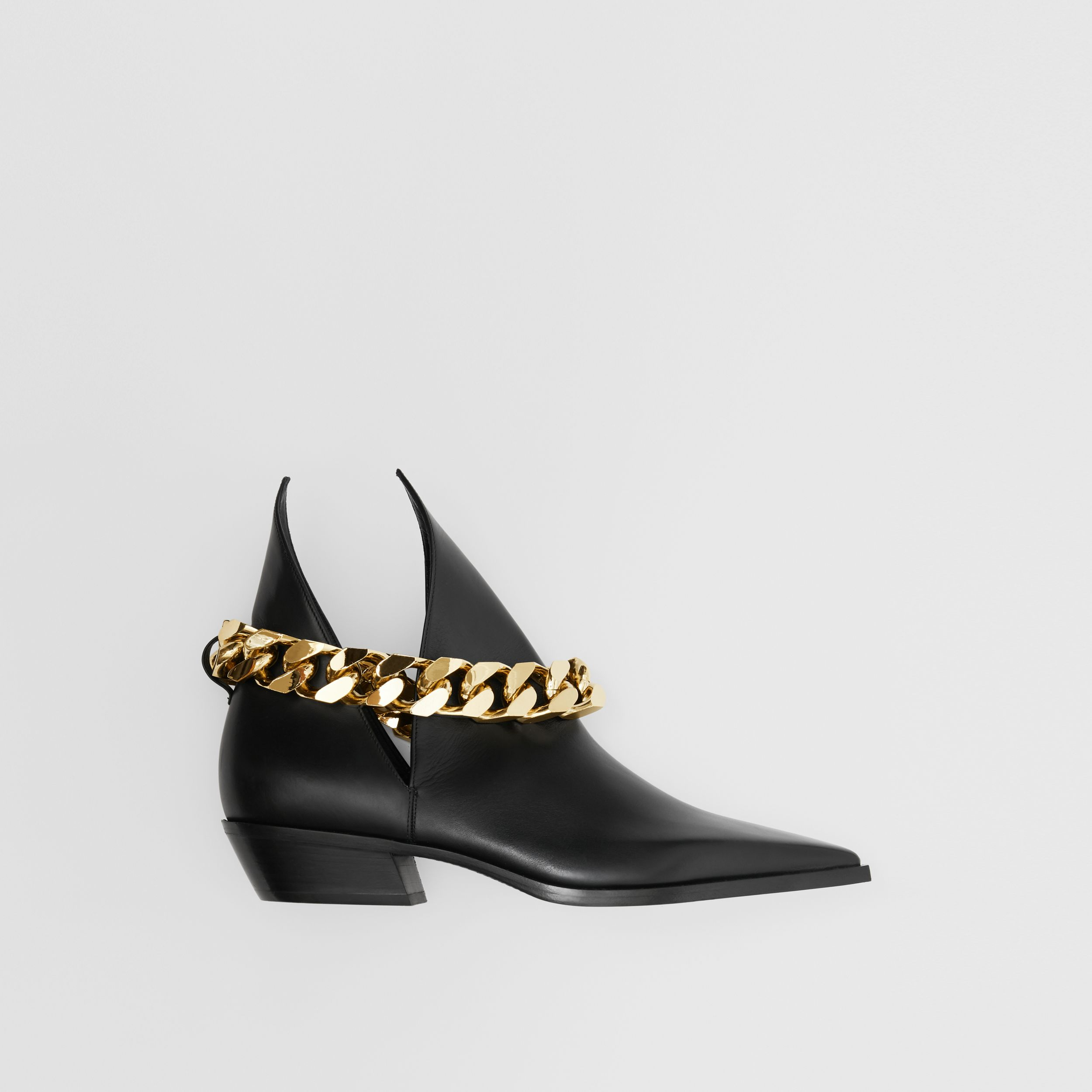 Chain Detail Leather Ankle Boots in Black - Women | Burberry - 1