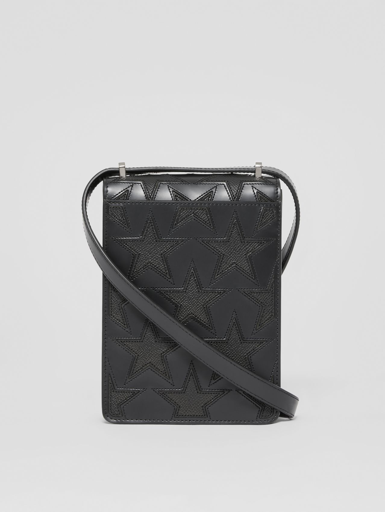 Star Motif Leather Robin Bag in Black