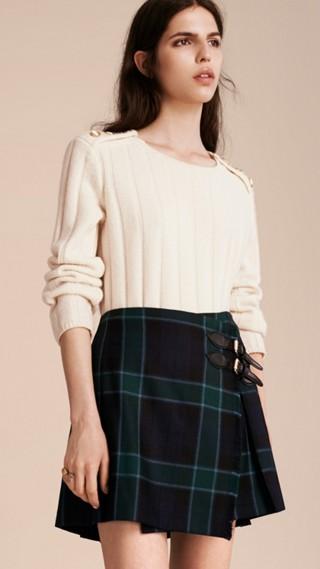 Jupe kilt en laine à motif check