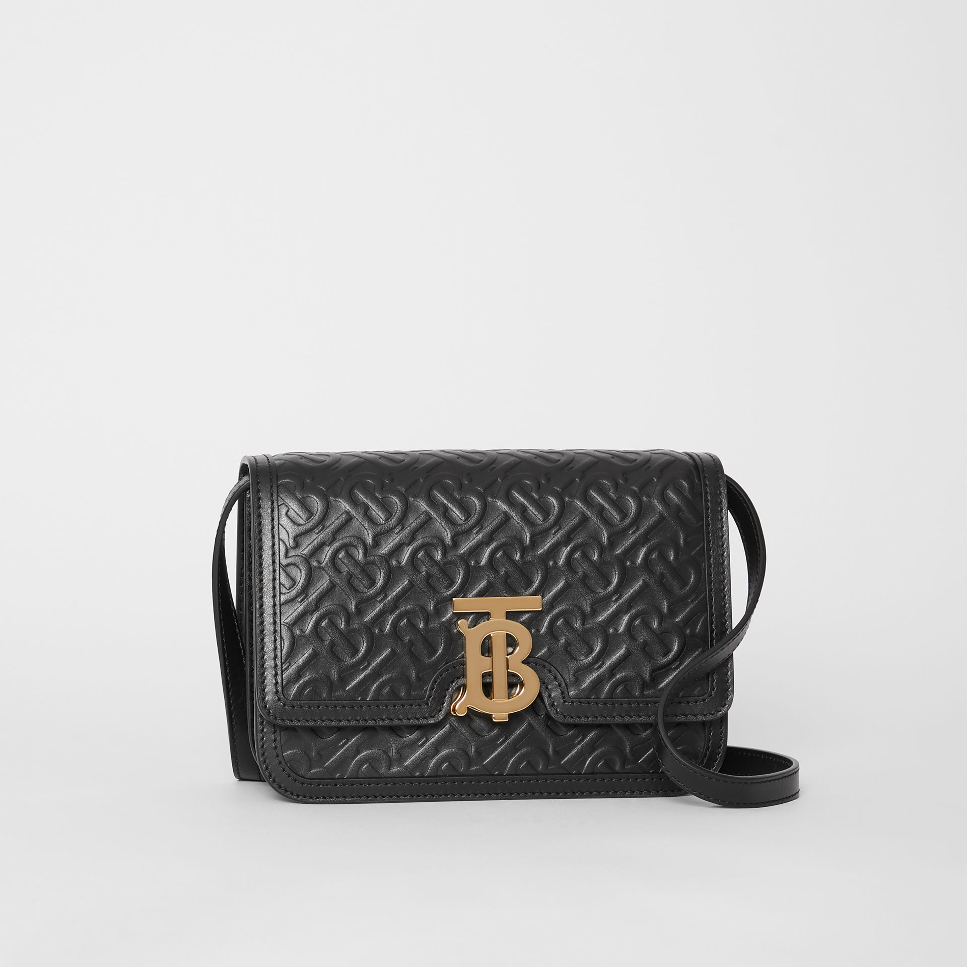 Small Monogram Leather TB Bag in Black - Women | Burberry - gallery image 6