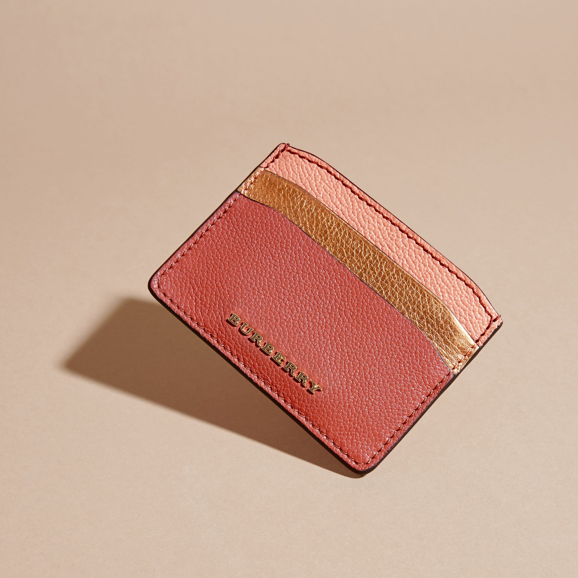 Colour Block Leather Card Case in Copper Pink - gallery image 3