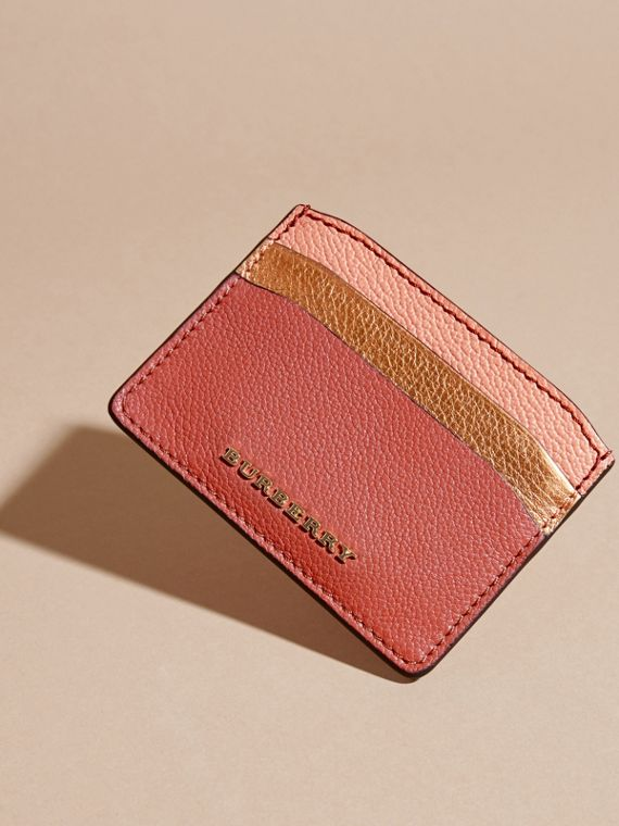 Colour Block Leather Card Case in Copper Pink - cell image 2