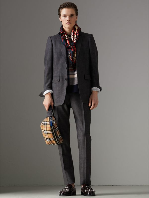 Graffiti Archive Scarf Print Silk Square Scarf in Navy | Burberry - cell image 3