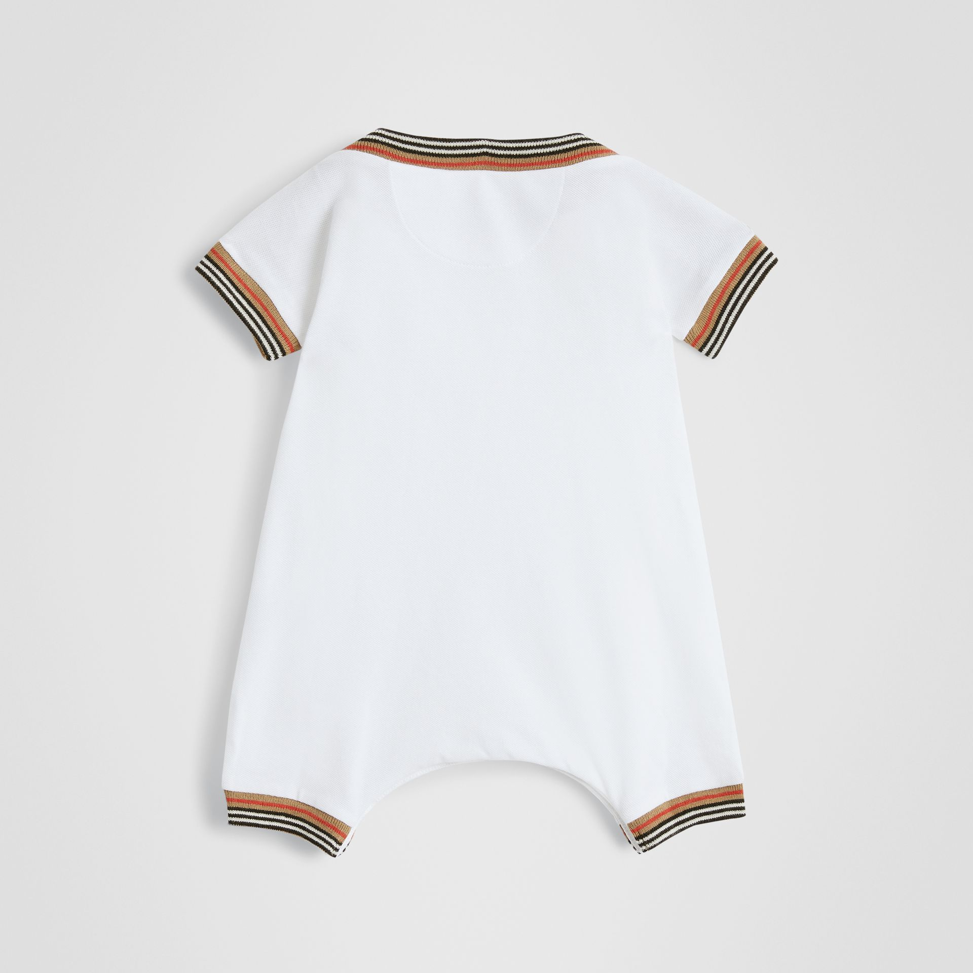 Icon Stripe Cotton Piqué Two-piece Baby Gift Set in White - Children | Burberry Canada - gallery image 3