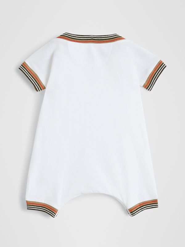 Icon Stripe Cotton Piqué Two-piece Baby Gift Set in White - Children | Burberry - cell image 3