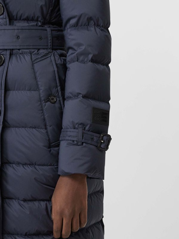 Detachable Hood Down-filled Coat in Navy - Women | Burberry - cell image 3