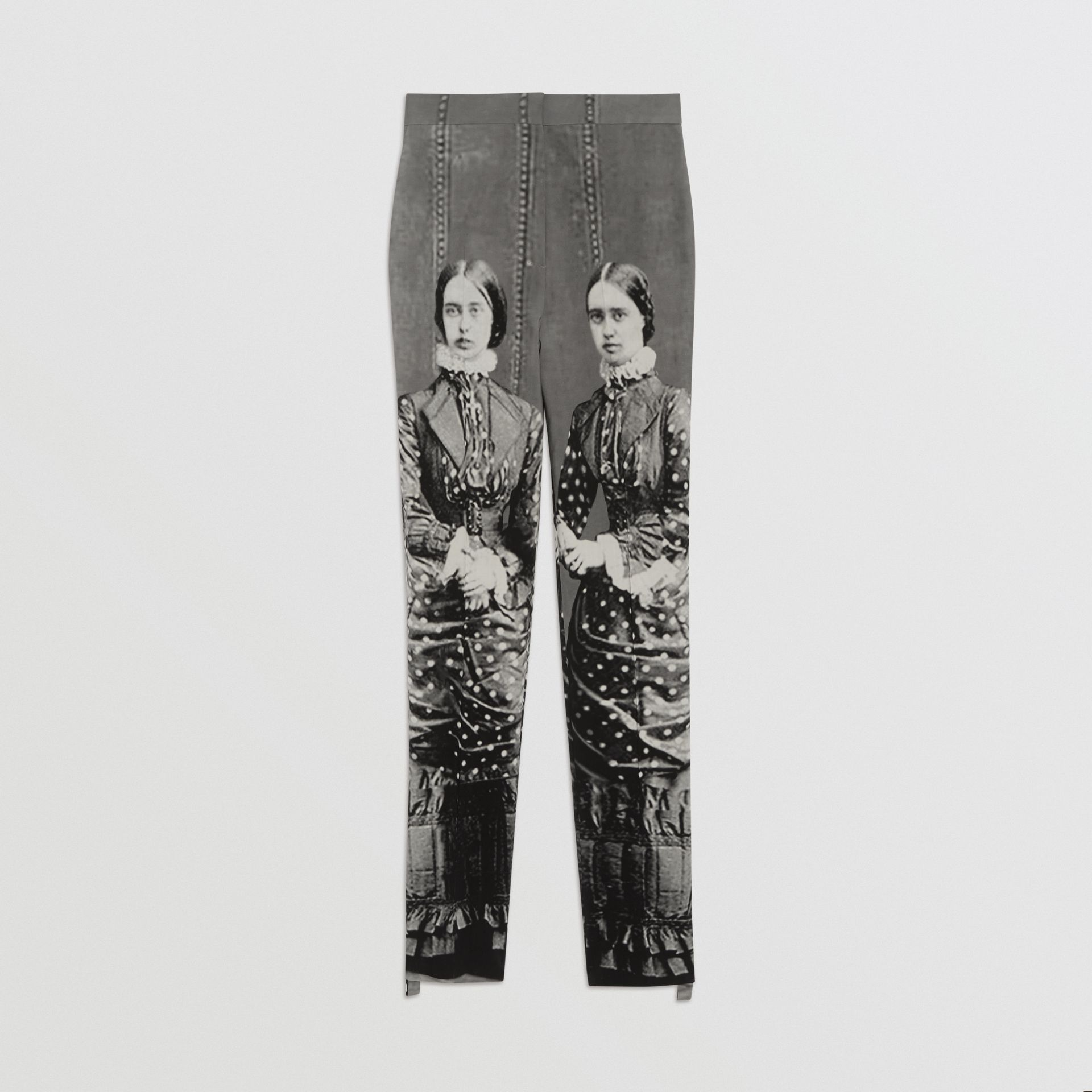 Victorian Portrait Print Stretch Wool Tailored Trousers in Grey - Women | Burberry Australia - gallery image 3