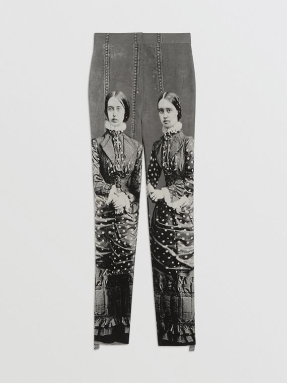 Victorian Portrait Print Stretch Wool Tailored Trousers in Grey