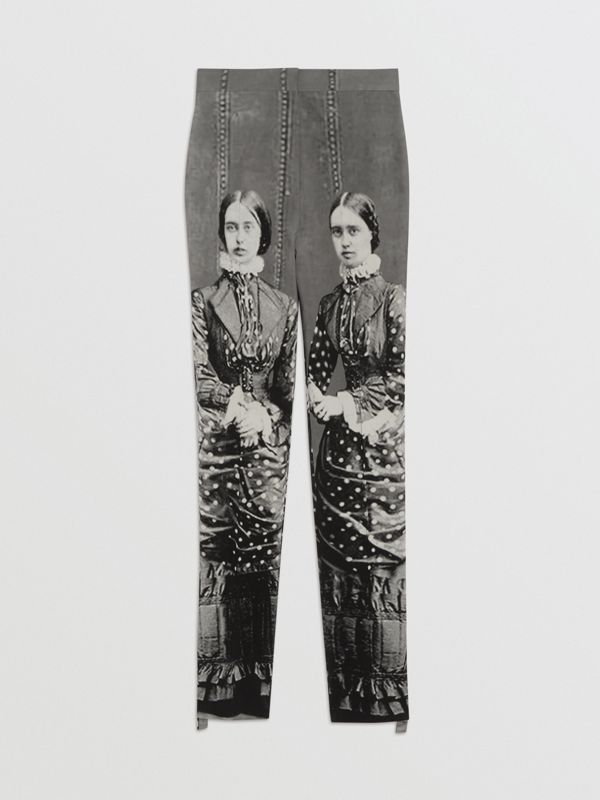 Victorian Portrait Print Stretch Wool Tailored Trousers in Grey - Women | Burberry - cell image 3