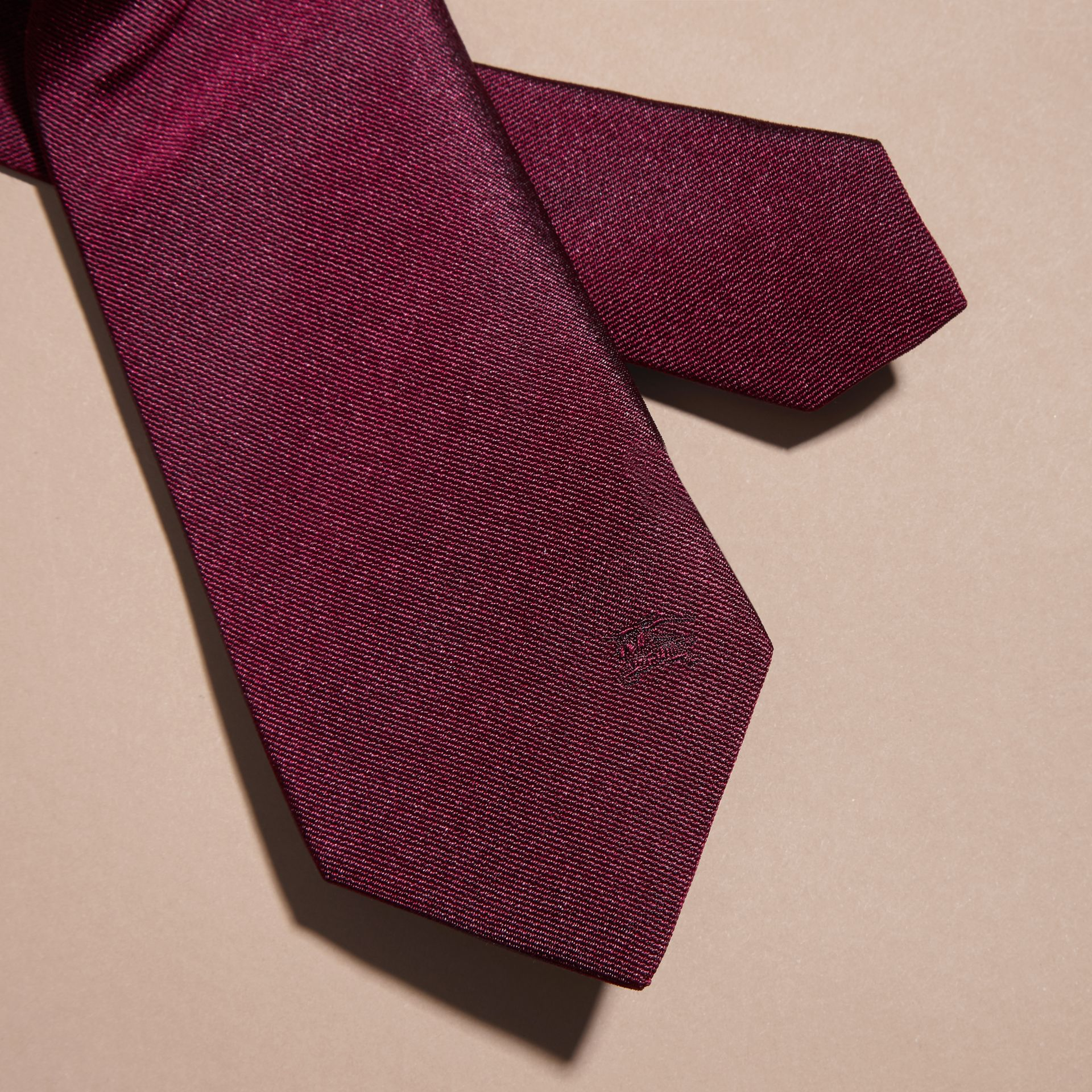 Dark plum pink Modern Cut Silk Twill Tie Dark Plum Pink - gallery image 2