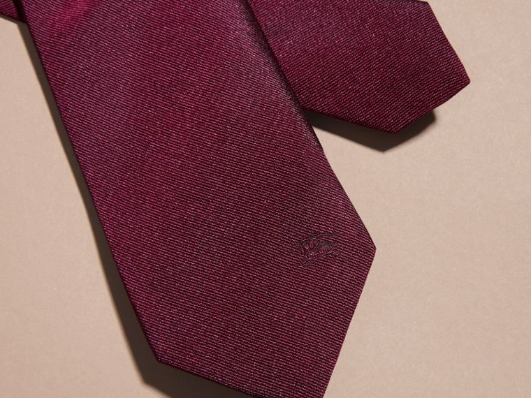 Dark plum pink Modern Cut Silk Twill Tie Dark Plum Pink - cell image 1