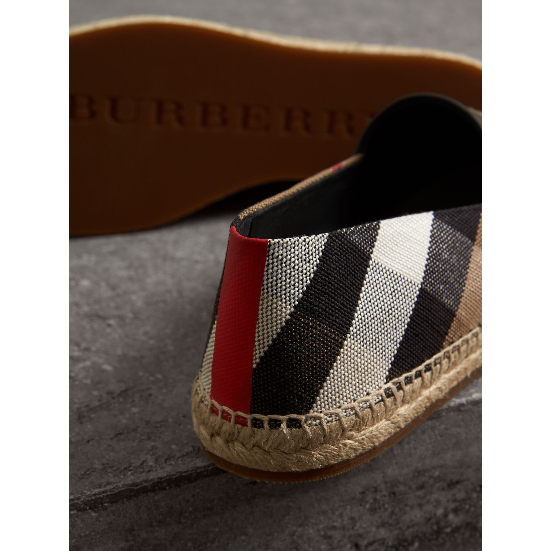 Check Cotton Canvas Seam-sealed Espadrilles in Classic - Men | Burberry Hong Kong - gallery image 1