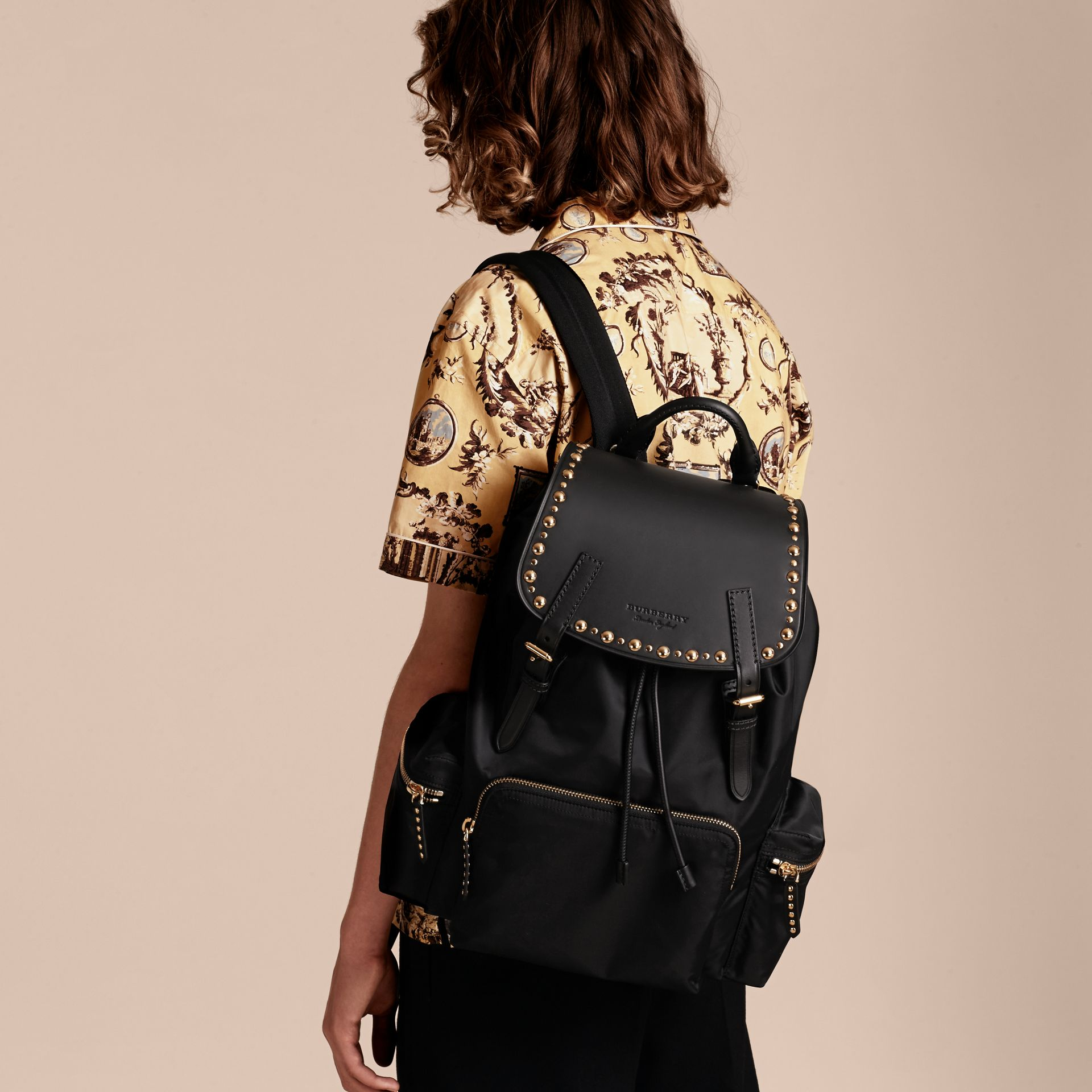 Black The Large Rucksack in Nylon and Riveted Leather - gallery image 3