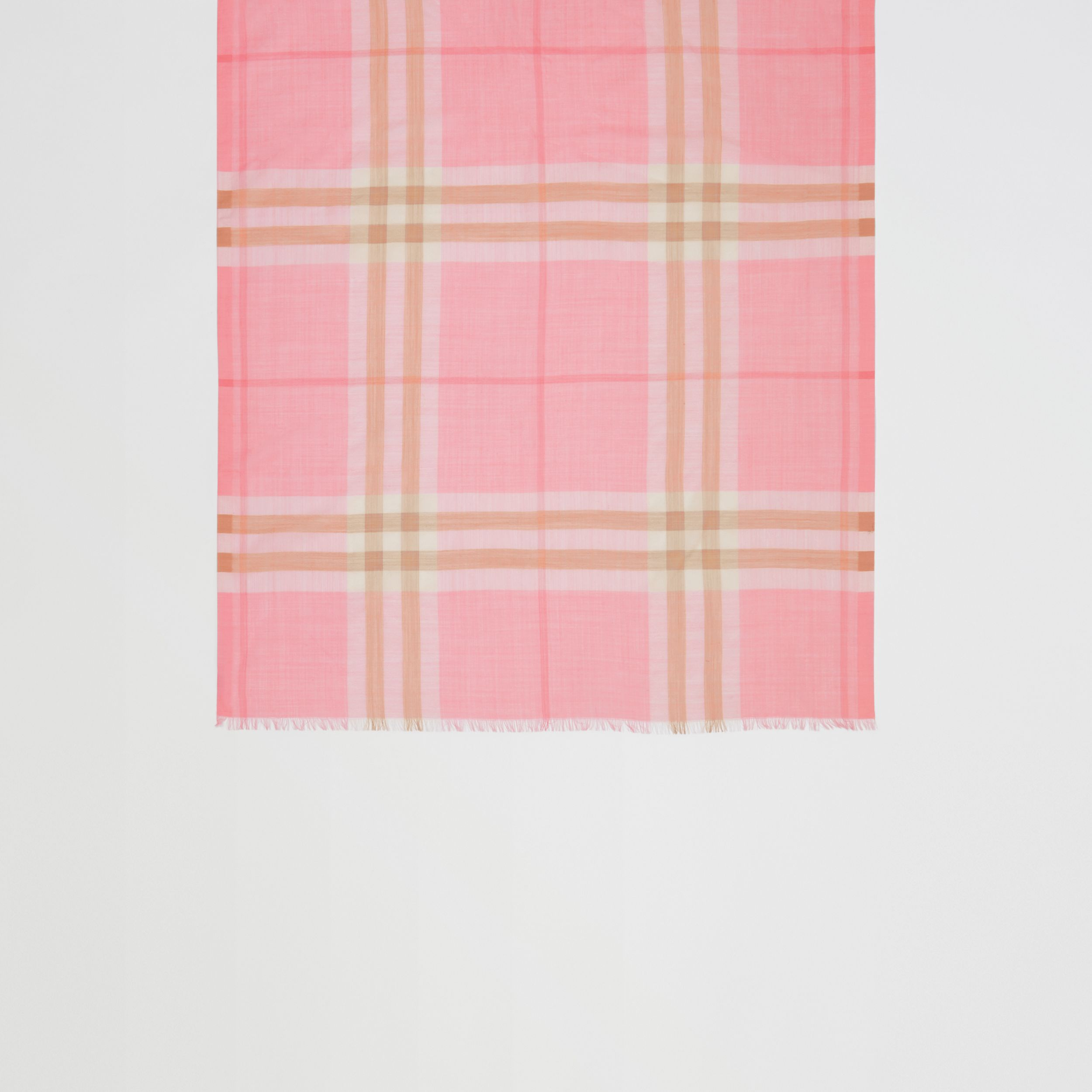 Lightweight Check Wool Silk Scarf in Candy Pink | Burberry - 3