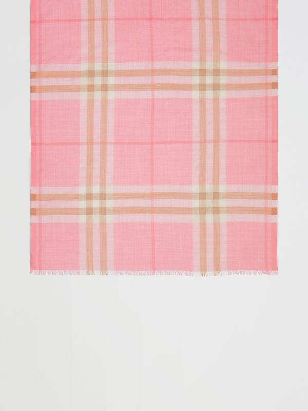 Lightweight Check Wool Silk Scarf in Candy Pink | Burberry - cell image 2