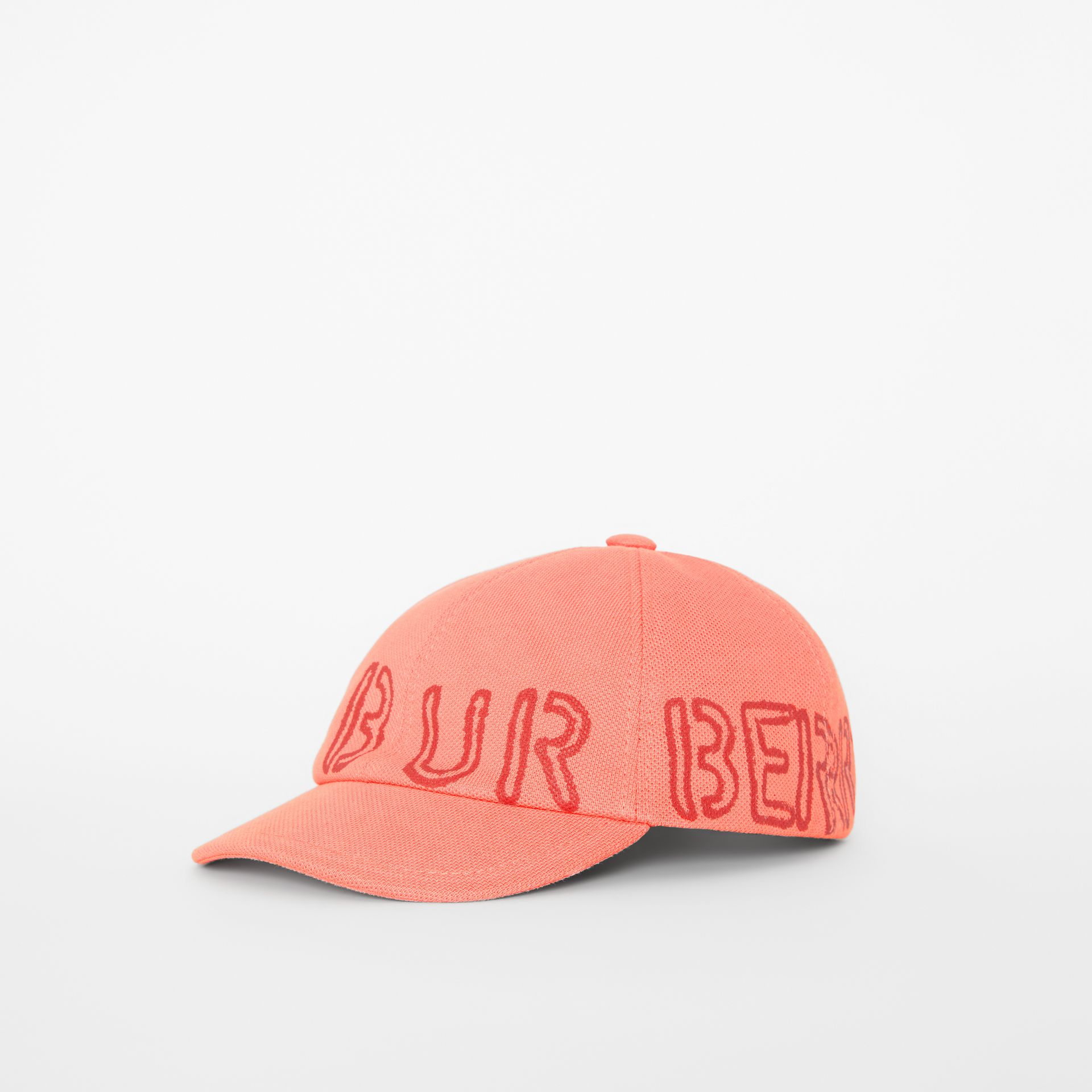 Stencil Logo Print Baseball Cap in Bright Pink/bright Red - Children | Burberry - gallery image 3