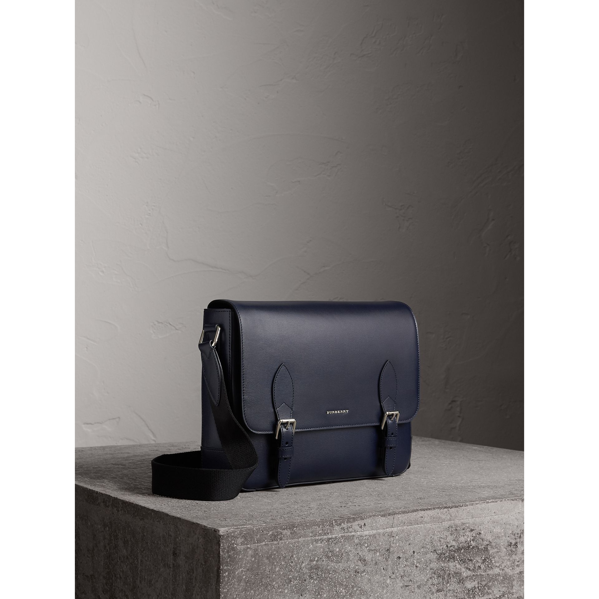 Medium London Leather Messenger Bag in Dark Navy - Men | Burberry - gallery image 6
