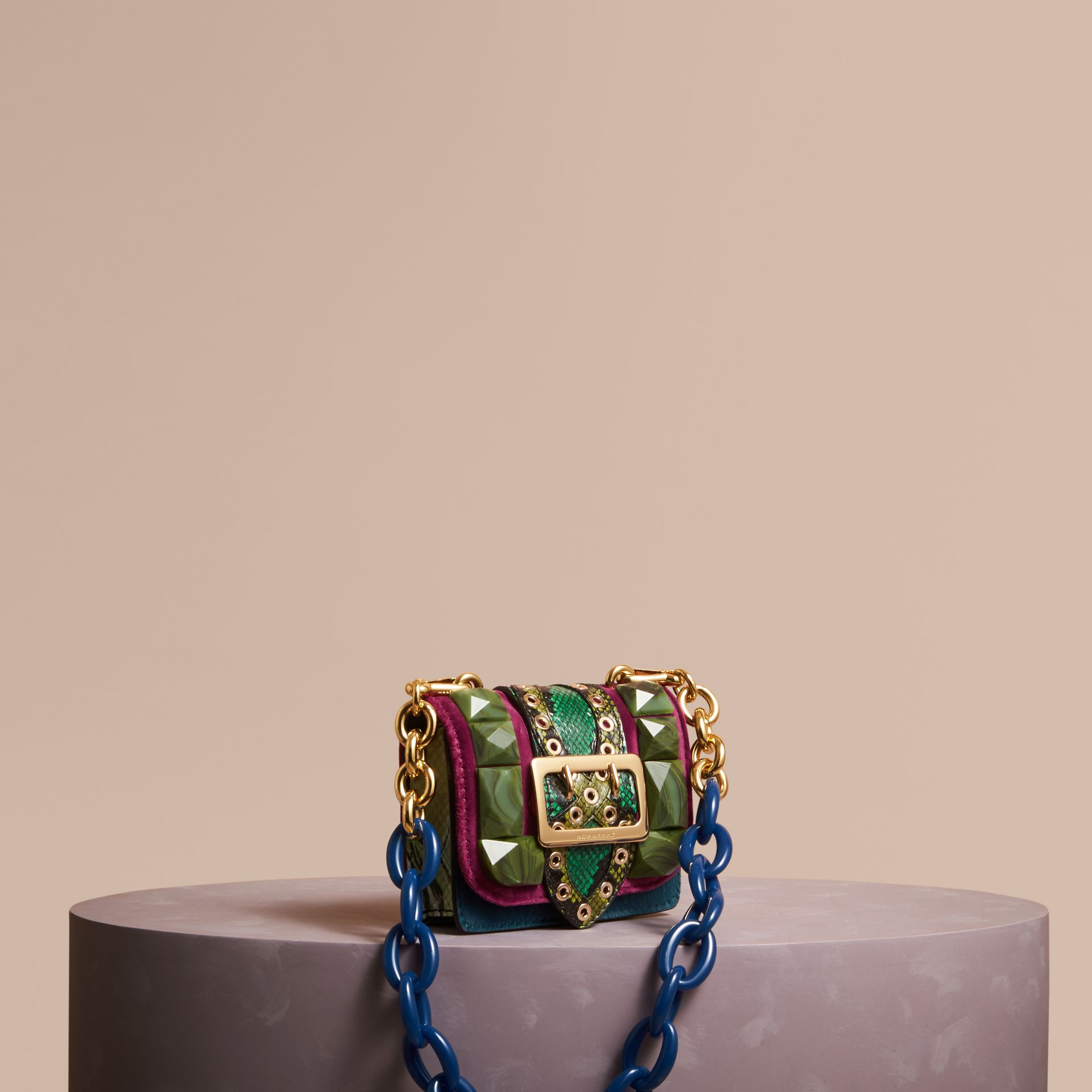 Damson The Mini Square Buckle Bag in Calfskin, Snakeskin and Velvet - gallery image 1