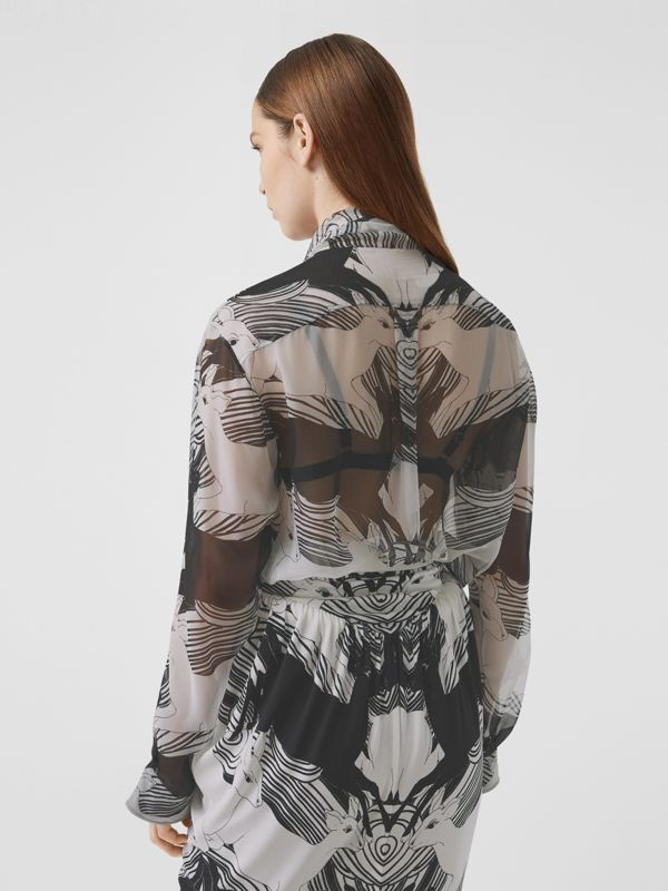 Deer Print Silk Chiffon Pussy-bow Blouse in Monochrome - Women | Burberry - cell image 2