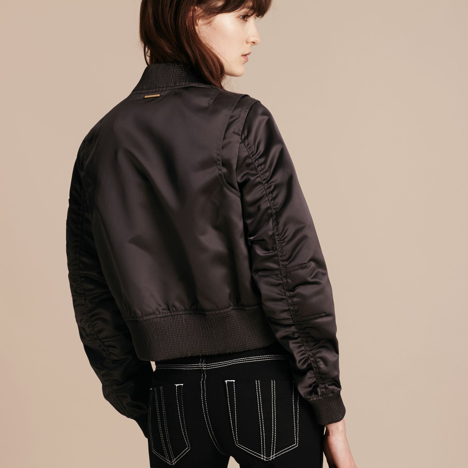 Graphite Cropped Technical Bomber Jacket - gallery image 3