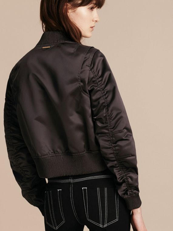 Graphite Cropped Technical Bomber Jacket - cell image 2