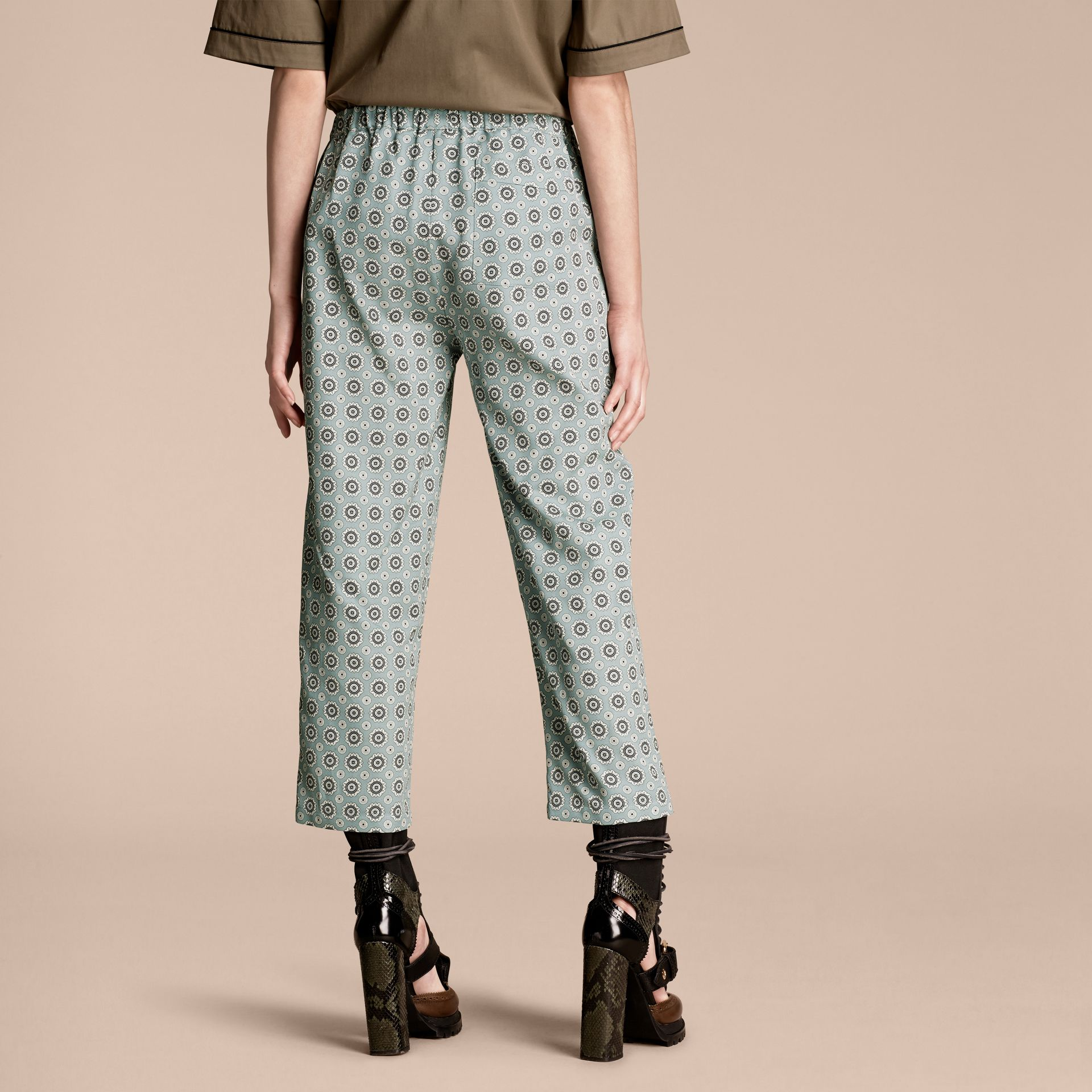 Pyjama Print Cropped Silk Cotton Pyjama-style Trousers in Pale Stone Blue - gallery image 3